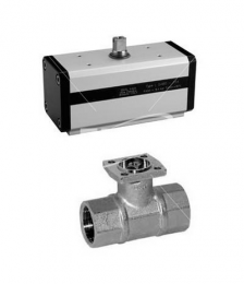 DA Pneumatic valve with double acting pneumatic actuator.