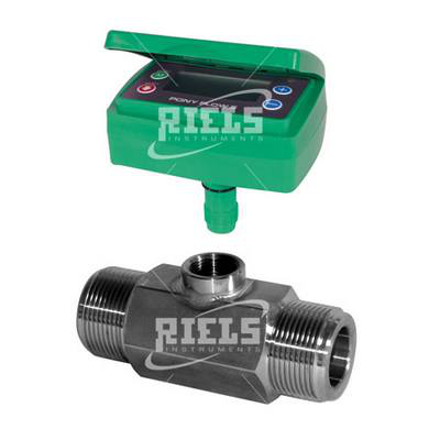 PonyFlow5 Inox Turbine flow meters with display battery powered. Flow rate up to 3,000 l/min.